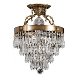 Crystorama Three Light Aged Brass Bowl Semi-Flush Mount