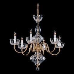 Crystorama Polished Brass Essex House 6 Light 25in. Wide Brass Candle Style Chandelier