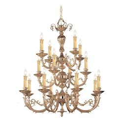 Crystorama Olde Brass Etta 16 Light 36in. Wide 3 Tier Cast Brass Candle Style Chandelier