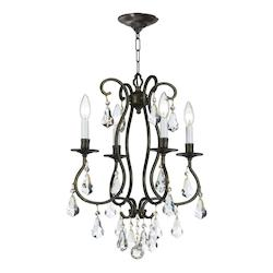 Crystorama Four Light English Bronze Up Mini Chandelier