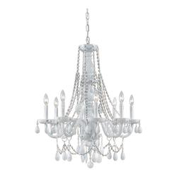 Crystorama Eight Light Wet White Up Chandelier