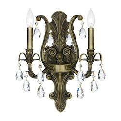 Crystorama Antique Brass / Hand Polished Dawson 2 Light Candle Style Crystal Wall Sconce