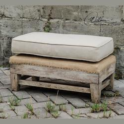 Uttermost Wood And Linen Schafer 30.7In.W X 19In.D Rectangular Ottoman