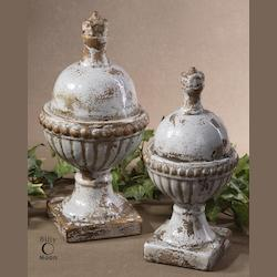 Uttermost Distressed Powdered Blue Sini Finials Set Of 2