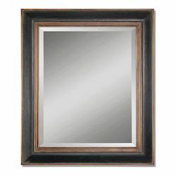 Uttermost B Black With Antiqued Gold And Gray Glaze Fabiano Beveled Mirror With Wood Frame