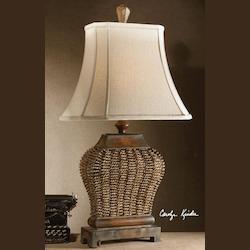 Uttermost Mahogany Finish With Rust Distressing And A Beige Wash Augustine Table Lamp