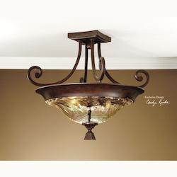 Uttermost Distressed Spice Traditional 2 Light Semi Flush Ceiling Fixture