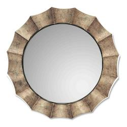Uttermost P Antique Silver Leaf Gotham Round Mirror With Fluted Frame