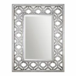 Uttermost Antiqued Silver Leaf With Black Sorbolo Metal Patterned Mirror