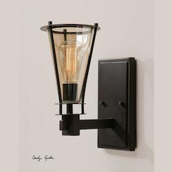Uttermost Rustic Black With Cognac Glass Frisco 1 Light Wall Sconce