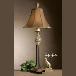 Uttermost And Antiqued Black Crackle Legs Jenelle Buffet Lamp