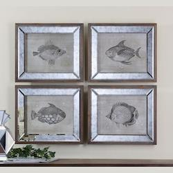 Uttermost Artwork Reproduction Mirrored Fish Framed Wall Art, Set Of Four