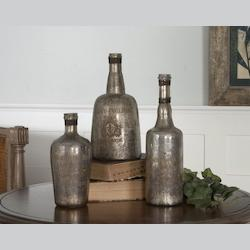 Uttermost Lamaison Mercury Glass Bottles Set Of 3