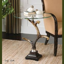 Uttermost Burnished Bone Ivory Stag Antler Accent Table