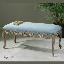Uttermost Sky Blue With Chipped Paint Hardwood Kylia Sky Cushioned Woven Wood Bench