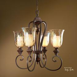 Uttermost Distressed Spice 4 Light Single Tier Chandelier