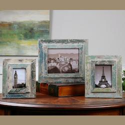 Uttermost Antiqued Ivory Wash Acheron Distressed Photo Frames, Set Of Three