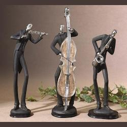 Uttermost Musicians Set Of 3 Figurines Playing Saxophone Violin And String Bass