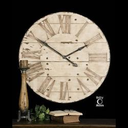 Uttermost Wall Clock With Antiqued Ivory Face With Edge Distressing