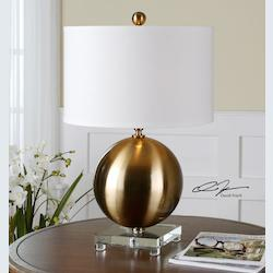 Uttermost Brass Laton Table Lamp With Cylinder Shade