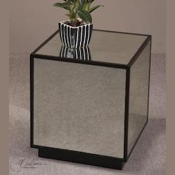 Uttermost Aged Black / Mirrored Mirrored Cube From The Matty Collection