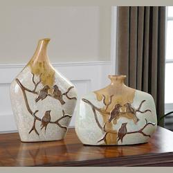 Uttermost White Ceramic Pajaro Ceramic Vases - Set Of 2