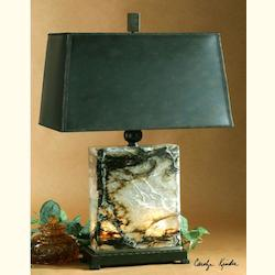 Uttermost Open Box Black Brown And Ivory Marble With Bronze Metal Details Marius Table Lamp