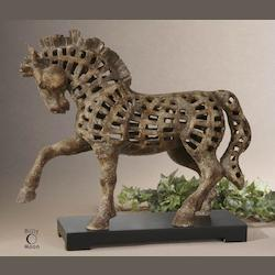 Uttermost Antique Ivory Prancing Horse Sculpture