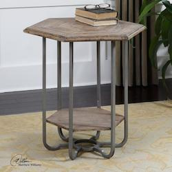 Uttermost Tan Chipped Paint Fir Mayson Wooden Accent Table With Bent Iron Frame