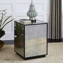 Uttermost Aged Black Matty Modern Mirrored Side Table