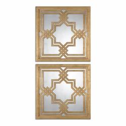 Uttermost Antiqued Gold Leaf Piazzale Squares Arabesque Square Mirrors, Set Of Two