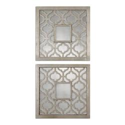 Uttermost Antique Silver Leaf Sorbolo Squares Set Of 2 Mirrors
