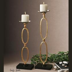 Uttermost Gold Lauria Gold Leaf Candle Holders - Beige Candles Included - Set Of 2