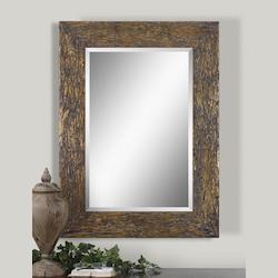 Uttermost Antiqued Silver Champagne With Matte Black Detail Wall Mirror