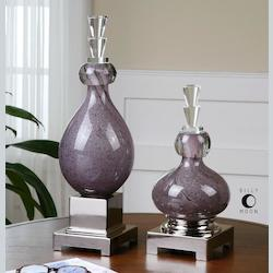 Uttermost Purple Glass And Polished Aluminum Charoite Deep Purple Canisters - Set Of 2
