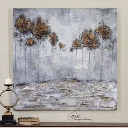 Uttermost Hand Painted Canvas Iced Trees 48In.W X 48In.H Impressionist Painting