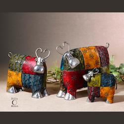 Uttermost Set Of 3Colorful And Whimsical Cows Accessories
