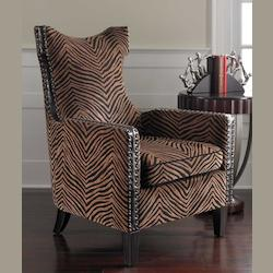 Uttermost Plush Golden Brown And Black Stripe Kimoni Contemporary Shaped Back Armchair