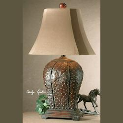Uttermost Mahogany Finish With Rust Distressing And A Beige Wash Valdemar Table Lamp