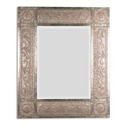 Uttermost Champagne Leaf Harvest Serenity Beveled Mirror With Ornate Frame