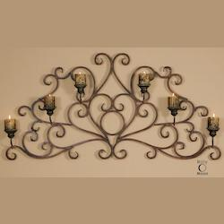 Uttermost Dark Red Rust And Olive Bronze Juliana Wall Candle Sconce