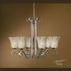 Uttermost Mottled Silver Leaf 6 Light Single Tier Chandelier From The Lyon Collection