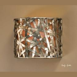 Uttermost Silver Leaf, Black Single Light Champagne Wall Sconce From The Alita Collection