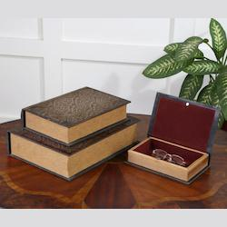 Uttermost Aged Mahogany Script Decorative Boxes