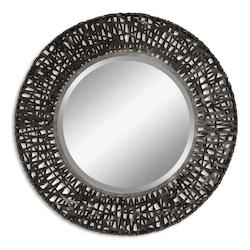Uttermost B Black Metal Alita Beveled Mirror With Woven Metal Frame