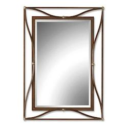 Uttermost Champagne Silver Leaf Thierry Beveled Mirror With Iron Frame