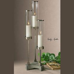 Uttermost Brushed Aluminum Risto Candle Holders