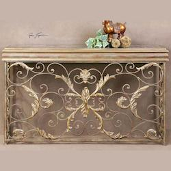Uttermost Antiqued Gold Leaf Valonia Antique Mirror Topped Console Table