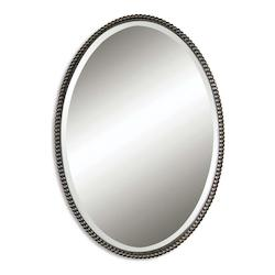 Uttermost B Oil Rubbed Bronze Sherise Oval Beveled Mirror With Beaded Frame