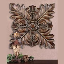 Uttermost Chestnut Brown Four Leaves Carved-Look Metal Wall Plaque